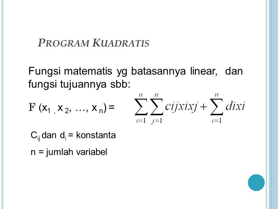 P ROGRAM K UADRATIS F ( x 1, x 2, …, x n ) = C ij dan d i = konstanta n = jumlah variabel Fungsi matematis yg batasannya linear, dan fungsi tujuannya sbb: