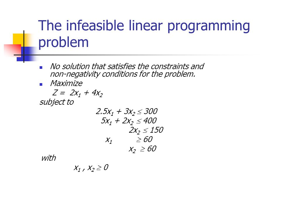 The infeasible linear programming problem No solution that satisfies the constraints and non-negativity conditions for the problem. Maximize Z = 2x 1