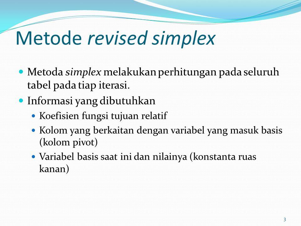 3 Metode revised simplex Metoda simplex melakukan perhitungan pada seluruh tabel pada tiap iterasi. Informasi yang dibutuhkan Koefisien fungsi tujuan
