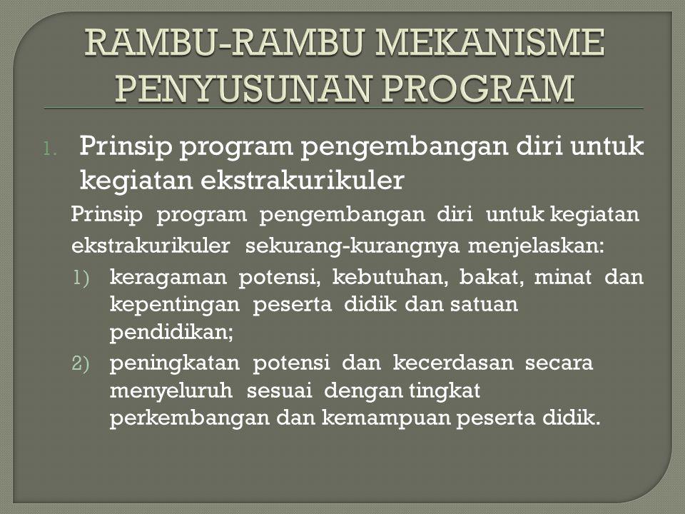 1. Prinsip program pengembangan diri untuk kegiatan ekstrakurikuler Prinsip program pengembangan diri untuk kegiatan ekstrakurikuler sekurang-kurangny