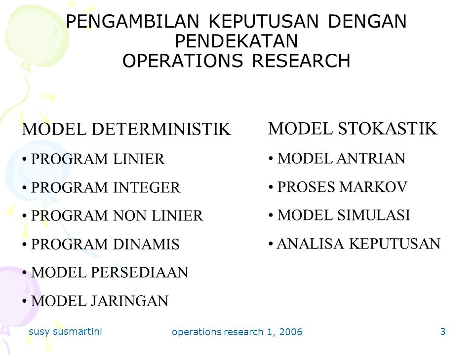 susy susmartini operations research 1, 2006 3 PENGAMBILAN KEPUTUSAN DENGAN PENDEKATAN OPERATIONS RESEARCH MODEL DETERMINISTIK PROGRAM LINIER PROGRAM I