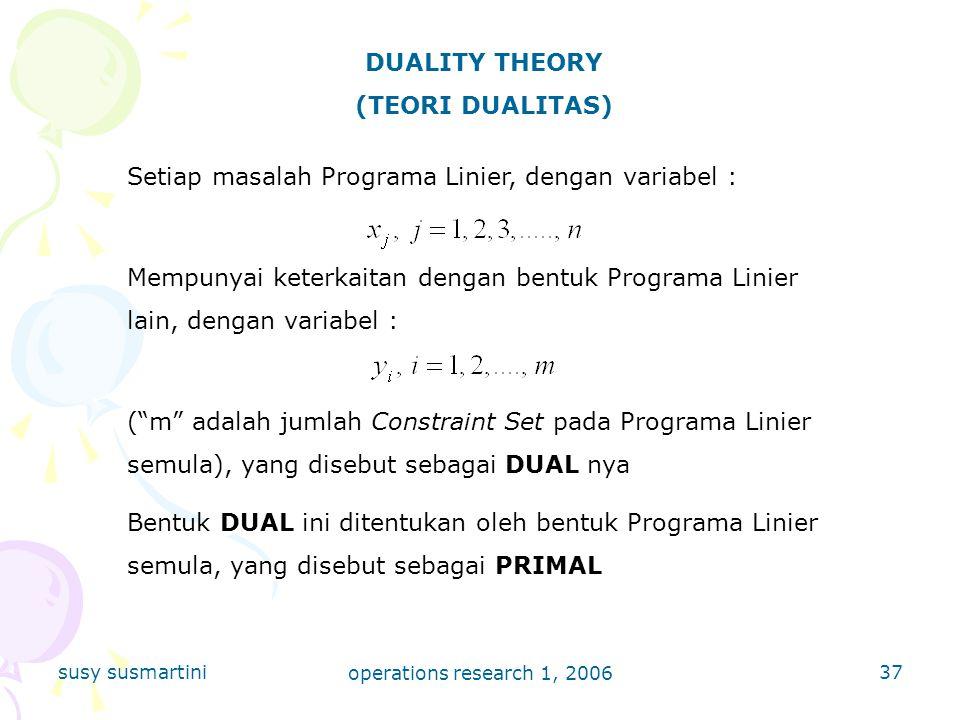 susy susmartini operations research 1, 2006 37 DUALITY THEORY (TEORI DUALITAS) Setiap masalah Programa Linier, dengan variabel : Mempunyai keterkaitan dengan bentuk Programa Linier lain, dengan variabel : ( m adalah jumlah Constraint Set pada Programa Linier semula), yang disebut sebagai DUAL nya Bentuk DUAL ini ditentukan oleh bentuk Programa Linier semula, yang disebut sebagai PRIMAL