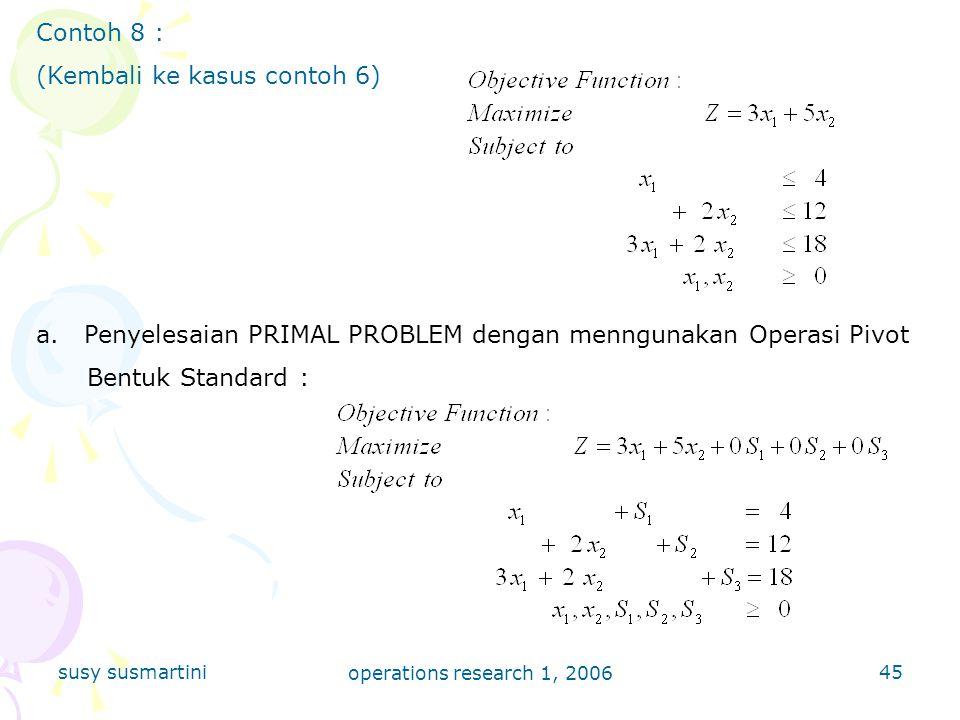 susy susmartini operations research 1, 2006 45 Contoh 8 : (Kembali ke kasus contoh 6) a.