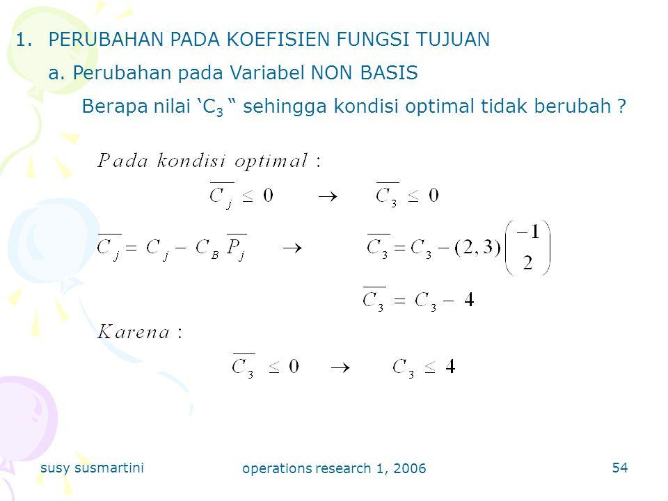 susy susmartini operations research 1, 2006 54 1.PERUBAHAN PADA KOEFISIEN FUNGSI TUJUAN a.
