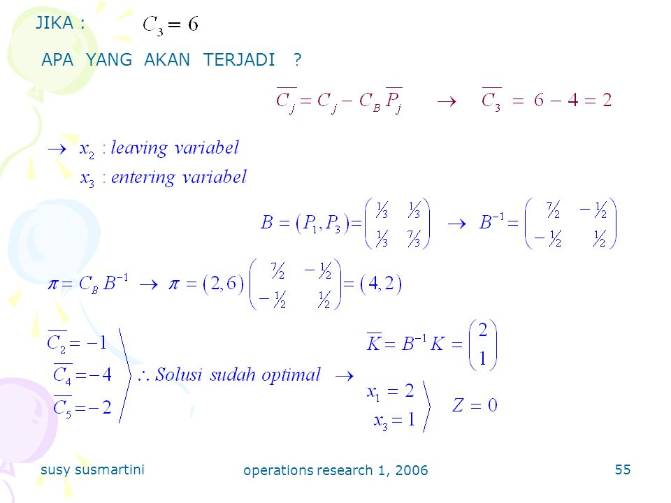 susy susmartini operations research 1, 2006 55 JIKA : APA YANG AKAN TERJADI ?