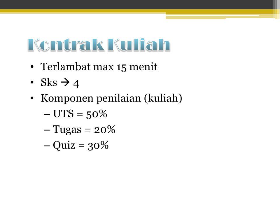 Terlambat max 15 menit Sks  4 Komponen penilaian (kuliah) – UTS = 50% – Tugas = 20% – Quiz = 30%