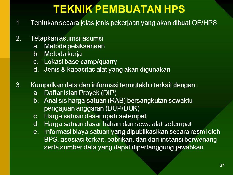 20 Lanjutan… 3.Untuk perkerjaan swakelola oleh pengguna barang/jasa/instansi pemerintah lain/LSM penerima hibah, HPS/OE ditentukan sebagai berikut : 1