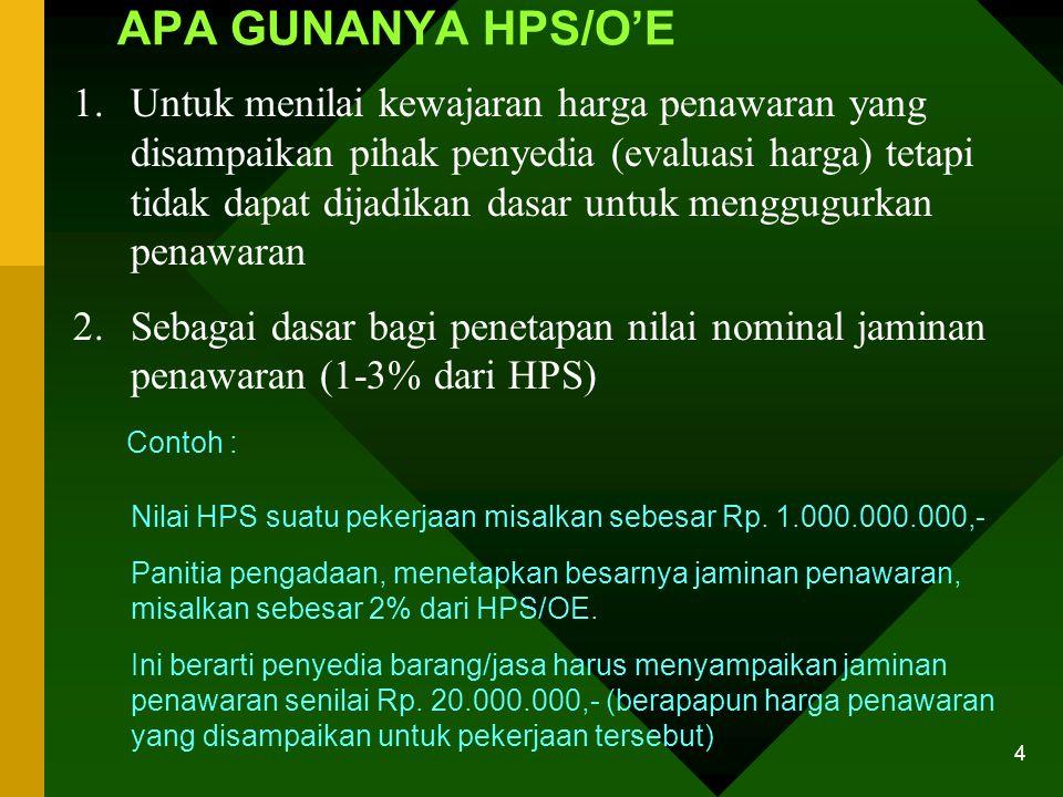 3 PENGERTIAN HPS/OE adalah perhitungan biaya atas pekerjaan barang/jasa sesuai dengan syarat- syarat yang ditentukan dalam dokumen pemilihan penyedia