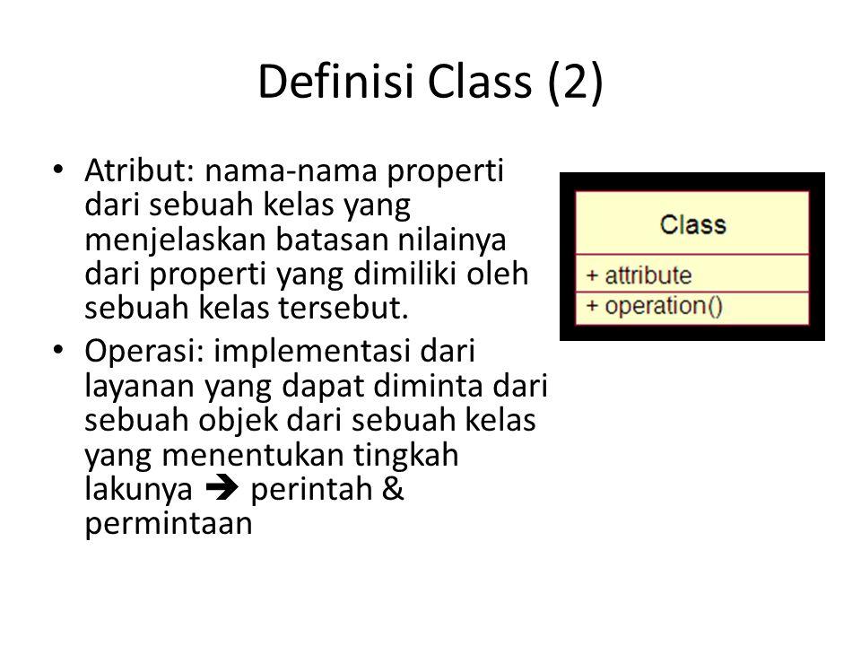 Definisi Class (2) Atribut: nama-nama properti dari sebuah kelas yang menjelaskan batasan nilainya dari properti yang dimiliki oleh sebuah kelas tersebut.