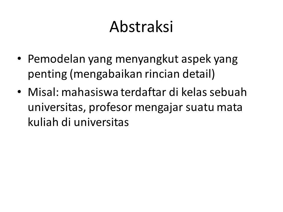 Abstraksi Pemodelan yang menyangkut aspek yang penting (mengabaikan rincian detail) Misal: mahasiswa terdaftar di kelas sebuah universitas, profesor m