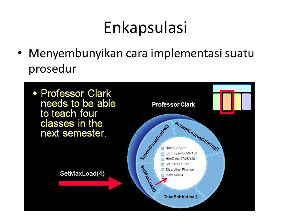 Enkapsulasi Menyembunyikan cara implementasi suatu prosedur