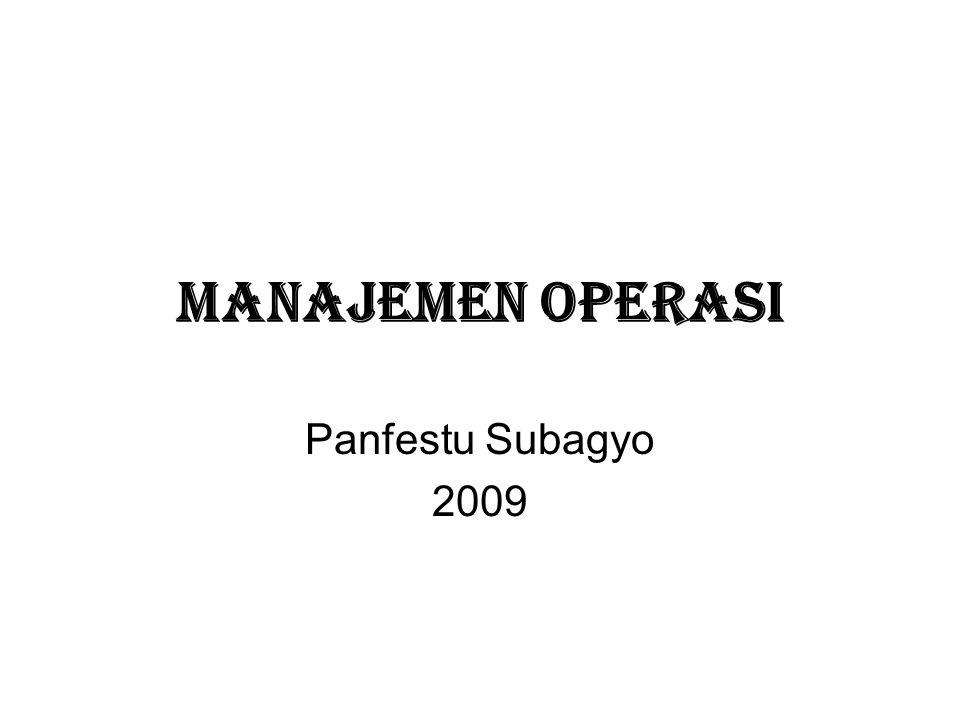 MANAJEMEN OPERASI Panfestu Subagyo 2009