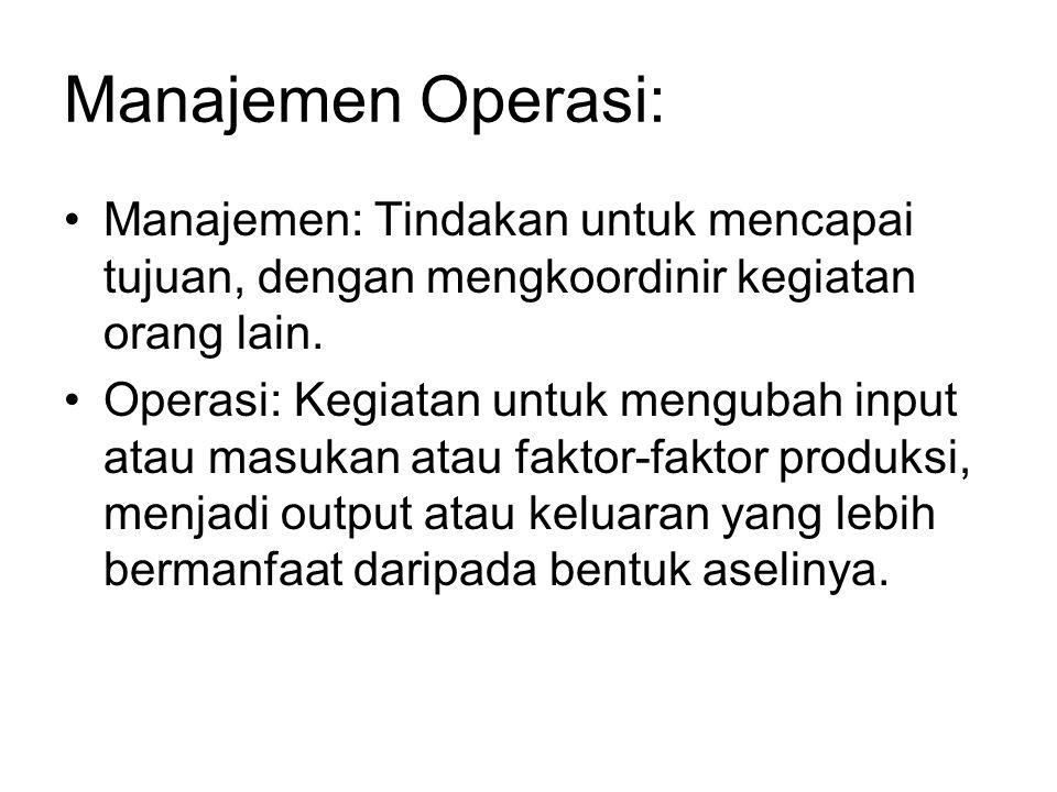 Manajemen Operasi: Manajemen: Tindakan untuk mencapai tujuan, dengan mengkoordinir kegiatan orang lain. Operasi: Kegiatan untuk mengubah input atau ma