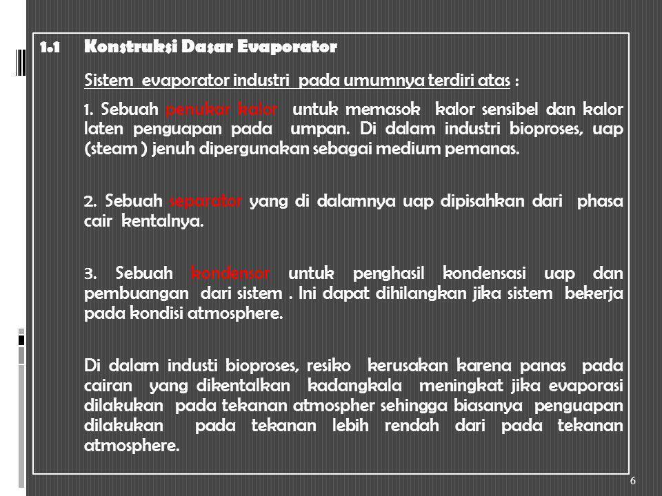 II.Peralatan Yang Digunakan Untuk Evaporasi Tipe-tipe evaporator tersedia sebagai berikut : 2.1Evaporator Sirkulasi Natural 2.1.1Evaporator pan terbuka 2.1.2Tabung horizontal pendek 2.1.3Tabung vertical pendek 2.1.4Evaporator sirkulasi natural dengan kalandria luar 2.2Forced Circulation Evaporators 2.3Long Tube Evaporators 17