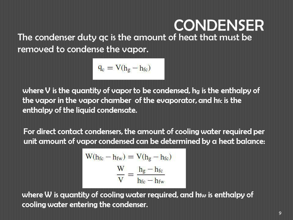 9 CONDENSER The condenser duty qc is the amount of heat that must be removed to condense the vapor. where V is the quantity of vapor to be condensed,