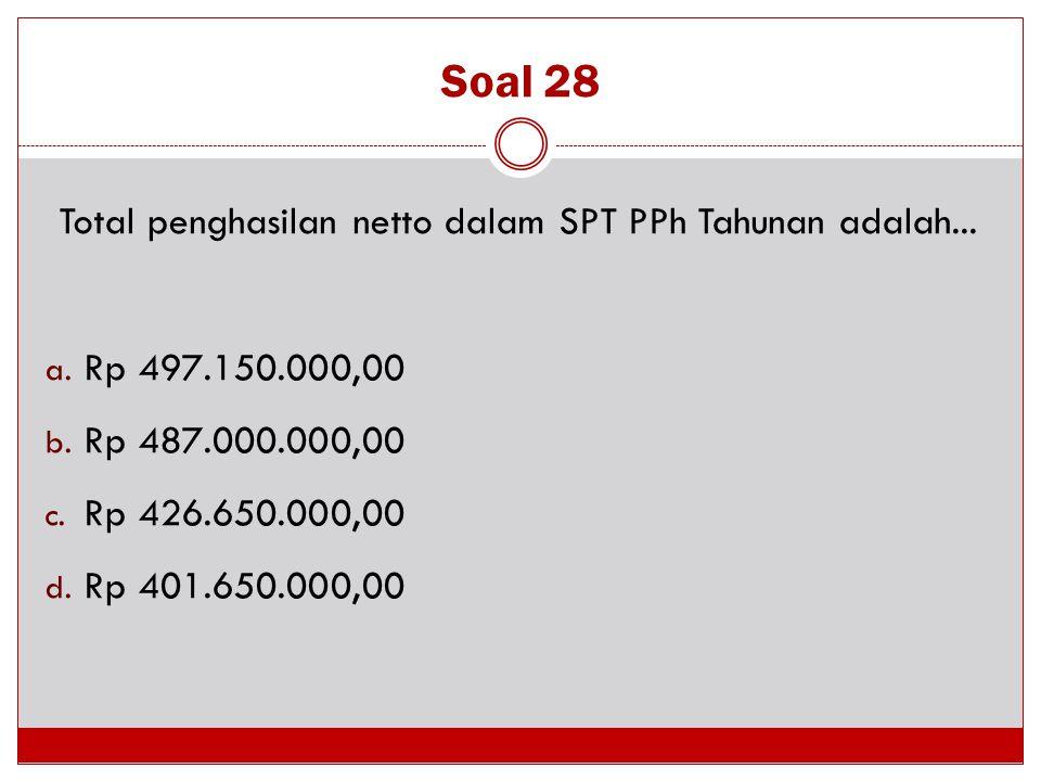 Soal 28 Total penghasilan netto dalam SPT PPh Tahunan adalah... a. Rp 497.150.000,00 b. Rp 487.000.000,00 c. Rp 426.650.000,00 d. Rp 401.650.000,00