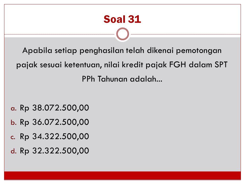 Soal 31 Apabila setiap penghasilan telah dikenai pemotongan pajak sesuai ketentuan, nilai kredit pajak FGH dalam SPT PPh Tahunan adalah... a. Rp 38.07