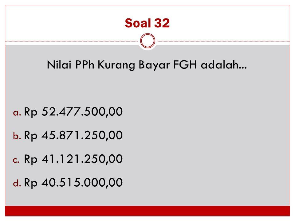 Soal 32 Nilai PPh Kurang Bayar FGH adalah... a. Rp 52.477.500,00 b. Rp 45.871.250,00 c. Rp 41.121.250,00 d. Rp 40.515.000,00