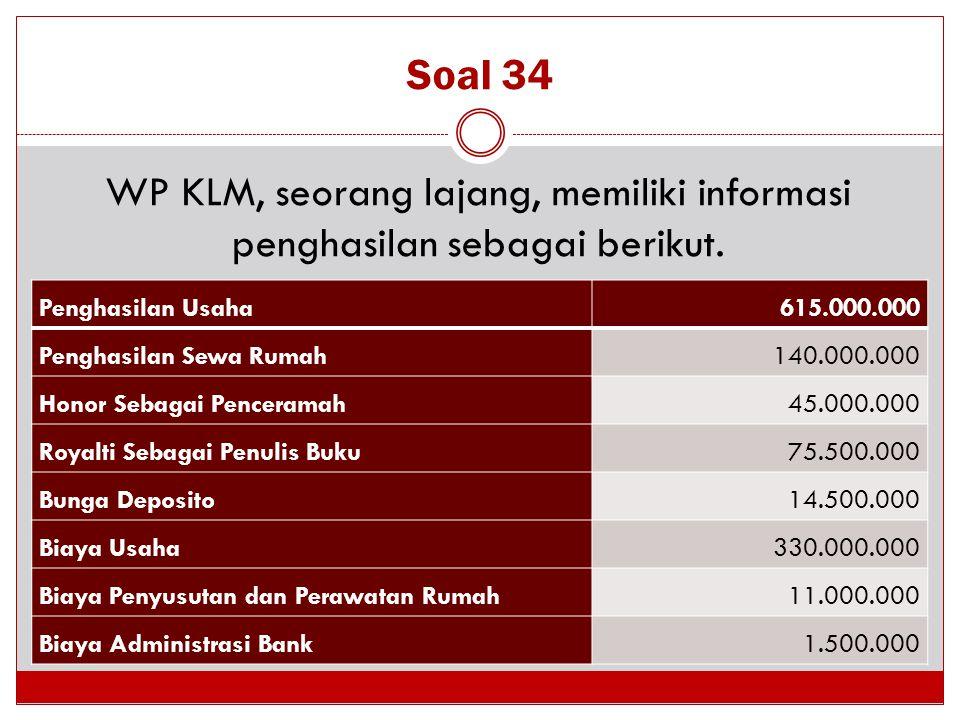 Soal 34 WP KLM, seorang lajang, memiliki informasi penghasilan sebagai berikut. Penghasilan Usaha 615.000.000 Penghasilan Sewa Rumah 140.000.000 Honor