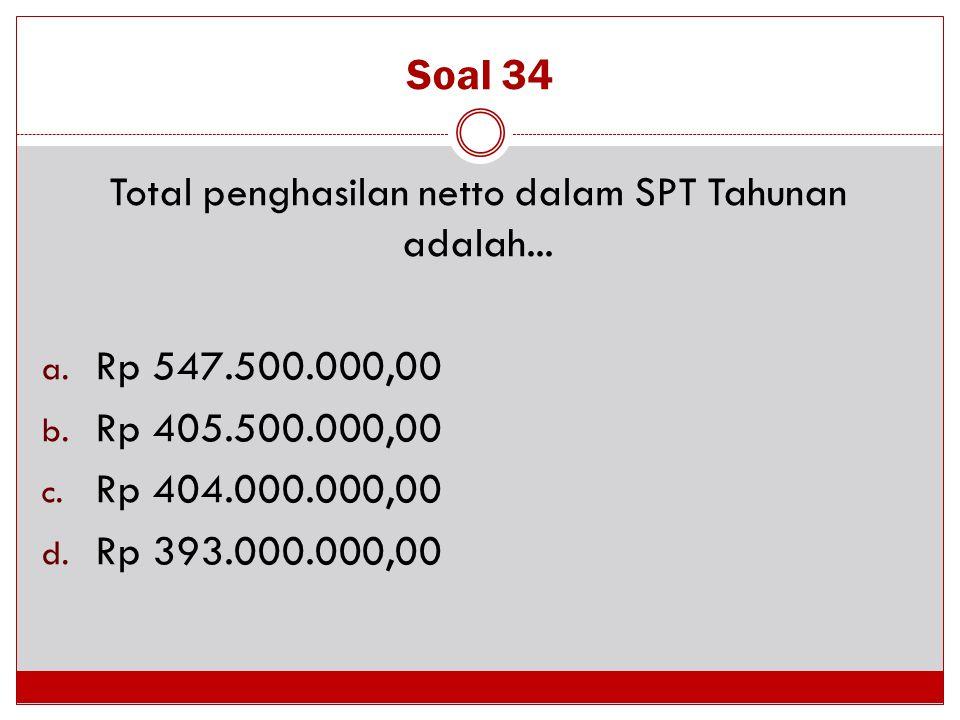 Soal 34 Total penghasilan netto dalam SPT Tahunan adalah... a. Rp 547.500.000,00 b. Rp 405.500.000,00 c. Rp 404.000.000,00 d. Rp 393.000.000,00