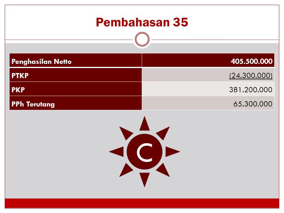 Pembahasan 35 C Penghasilan Netto405.500.000 PTKP(24.300.000) PKP381.200.000 PPh Terutang65.300.000