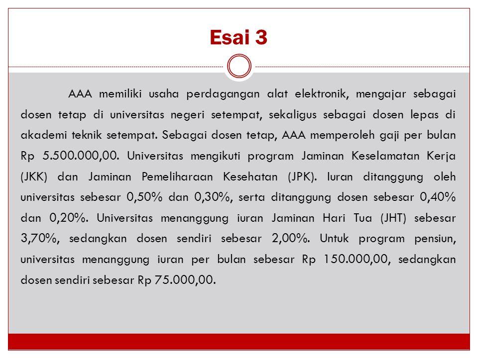 Esai 3 AAA memiliki usaha perdagangan alat elektronik, mengajar sebagai dosen tetap di universitas negeri setempat, sekaligus sebagai dosen lepas di a