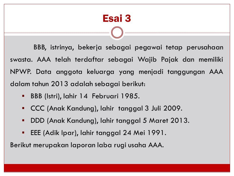 Esai 3 BBB, istrinya, bekerja sebagai pegawai tetap perusahaan swasta. AAA telah terdaftar sebagai Wajib Pajak dan memiliki NPWP. Data anggota keluarg