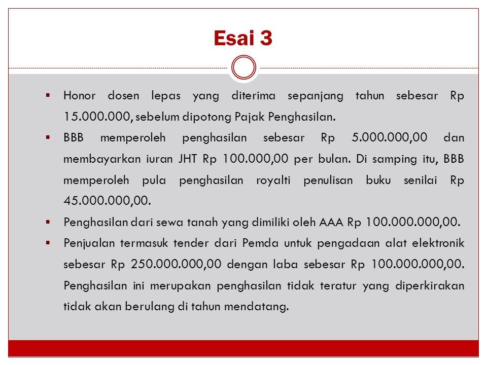 Esai 3  Honor dosen lepas yang diterima sepanjang tahun sebesar Rp 15.000.000, sebelum dipotong Pajak Penghasilan.  BBB memperoleh penghasilan sebes