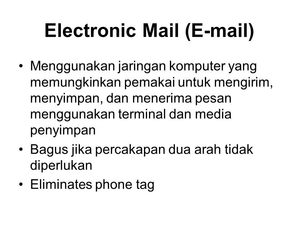 Electronic Mail (E-mail) Menggunakan jaringan komputer yang memungkinkan pemakai untuk mengirim, menyimpan, dan menerima pesan menggunakan terminal da