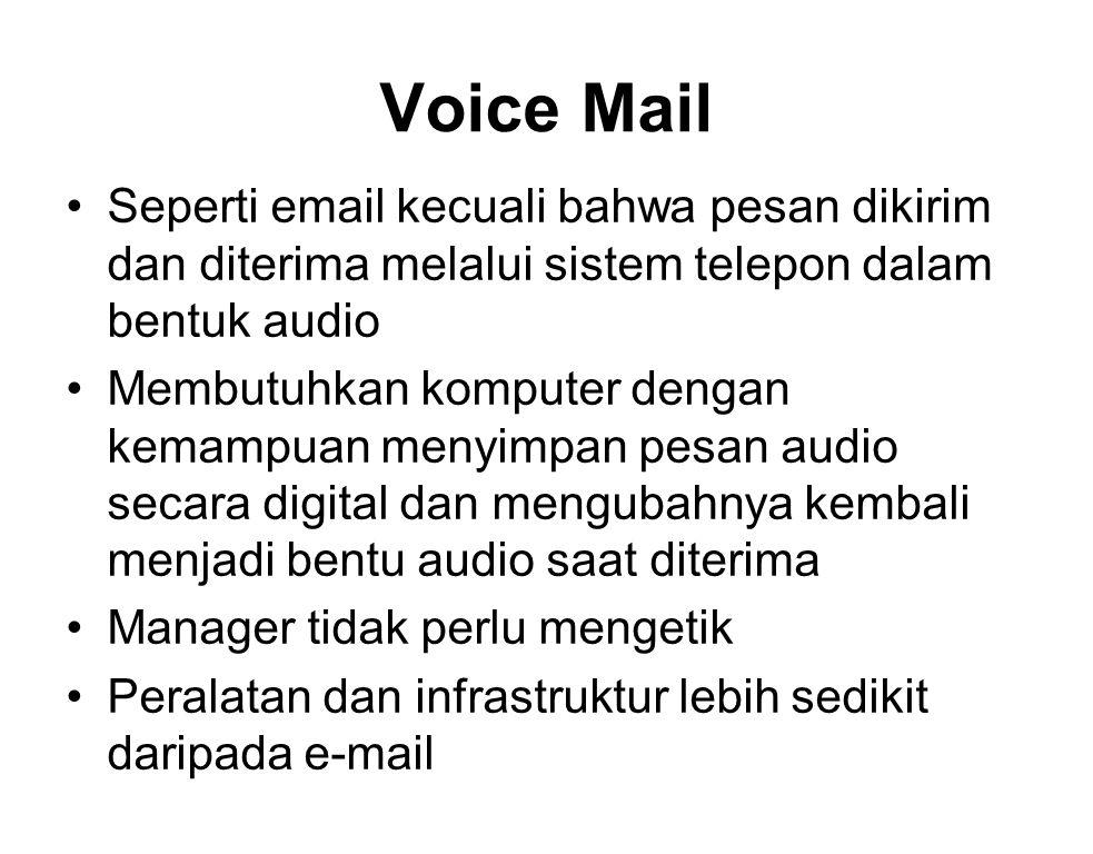 Voice Mail Seperti email kecuali bahwa pesan dikirim dan diterima melalui sistem telepon dalam bentuk audio Membutuhkan komputer dengan kemampuan meny