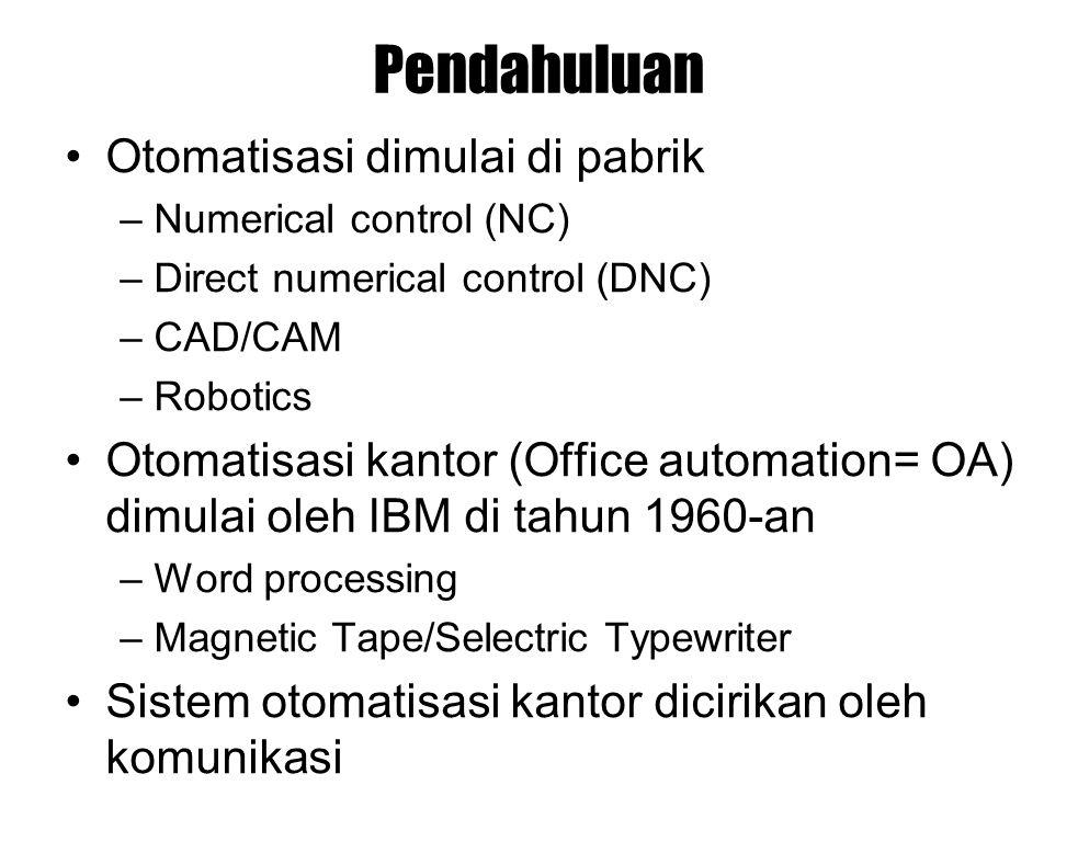 Pendahuluan Otomatisasi dimulai di pabrik –Numerical control (NC) –Direct numerical control (DNC) –CAD/CAM –Robotics Otomatisasi kantor (Office automa