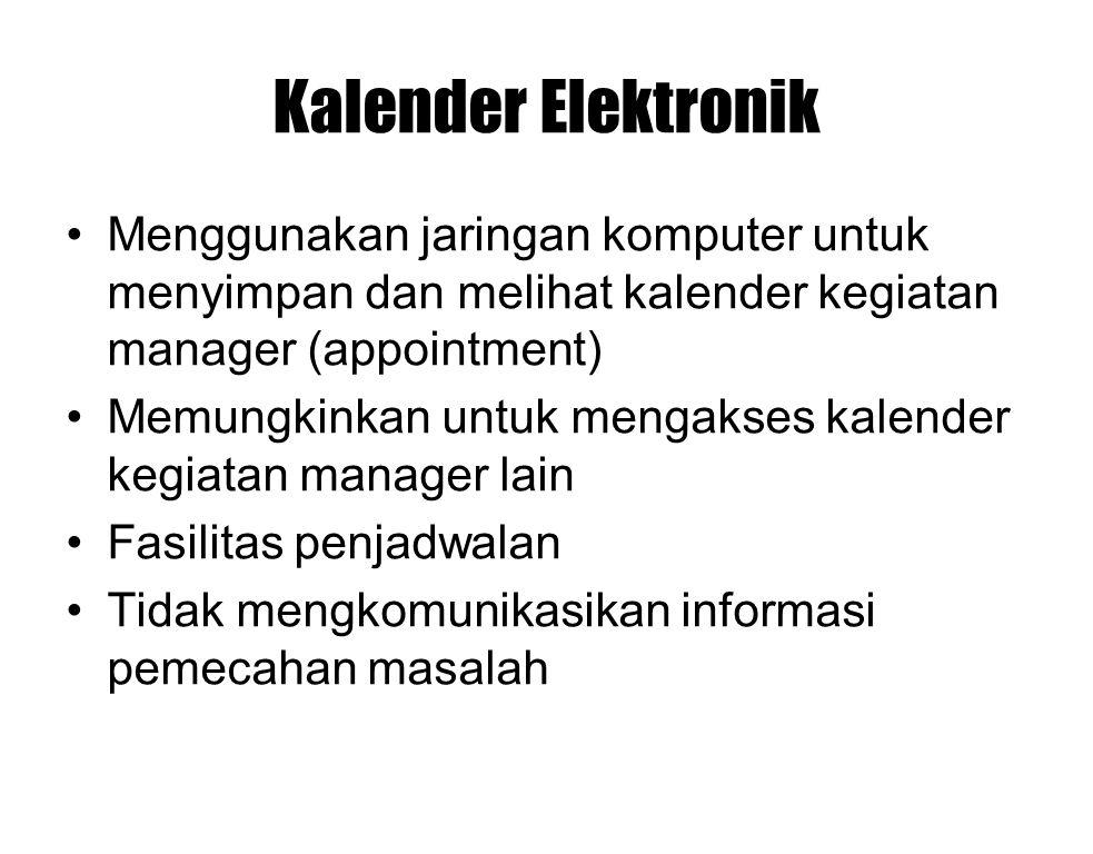 Kalender Elektronik Menggunakan jaringan komputer untuk menyimpan dan melihat kalender kegiatan manager (appointment) Memungkinkan untuk mengakses kal