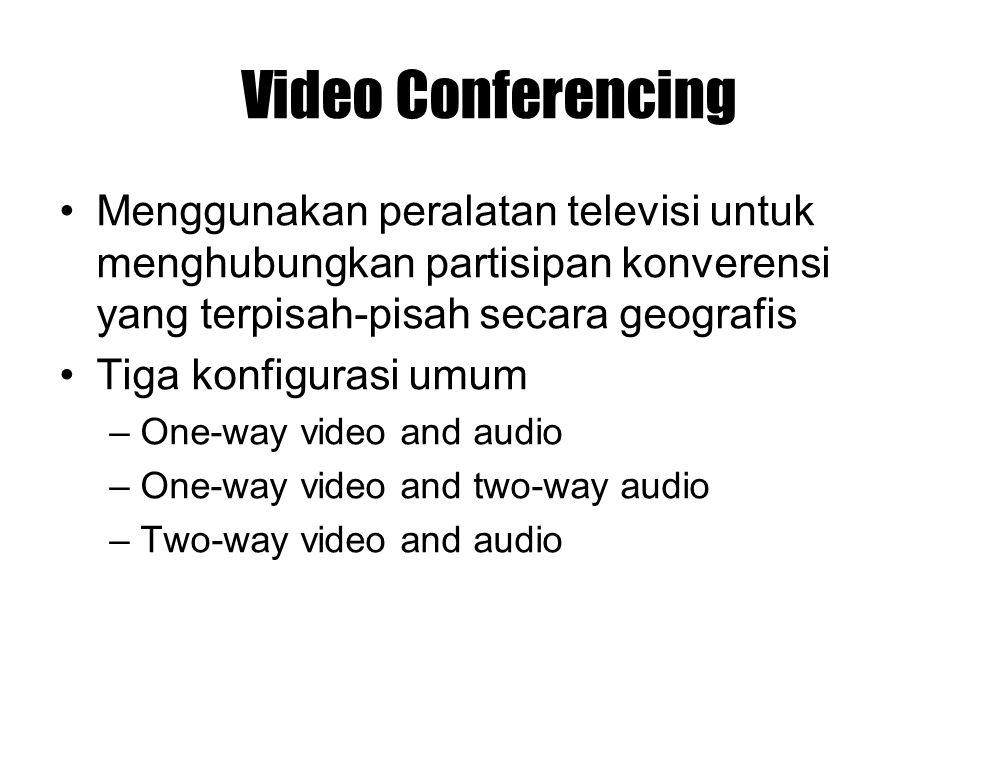 Video Conferencing Menggunakan peralatan televisi untuk menghubungkan partisipan konverensi yang terpisah-pisah secara geografis Tiga konfigurasi umum