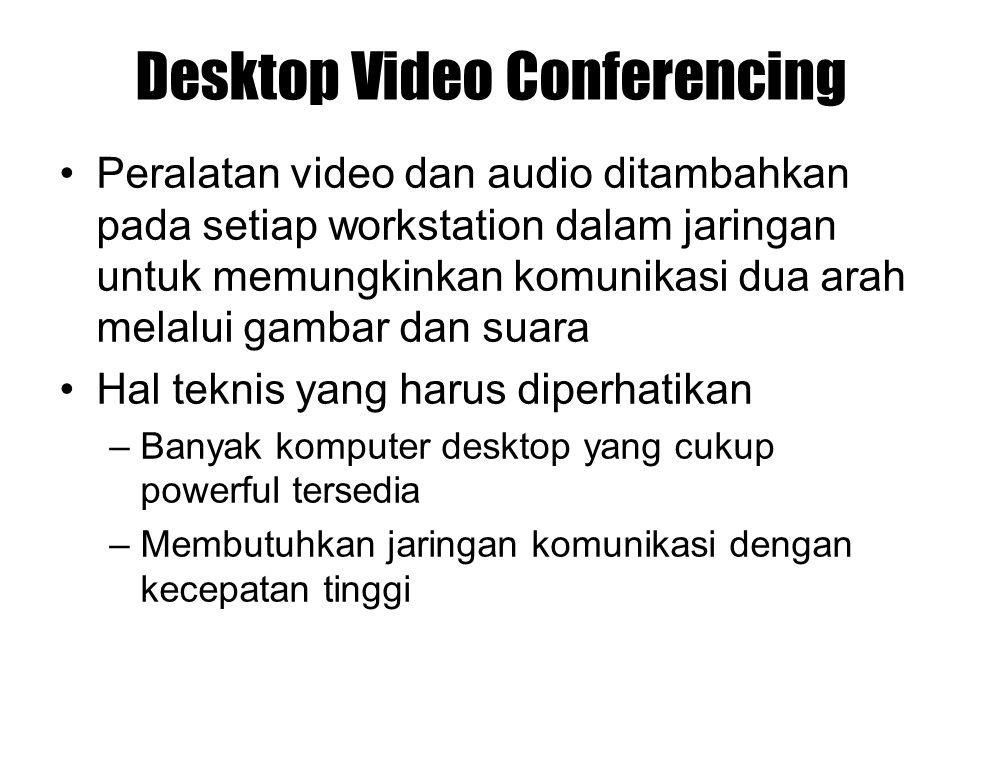 Desktop Video Conferencing Peralatan video dan audio ditambahkan pada setiap workstation dalam jaringan untuk memungkinkan komunikasi dua arah melalui