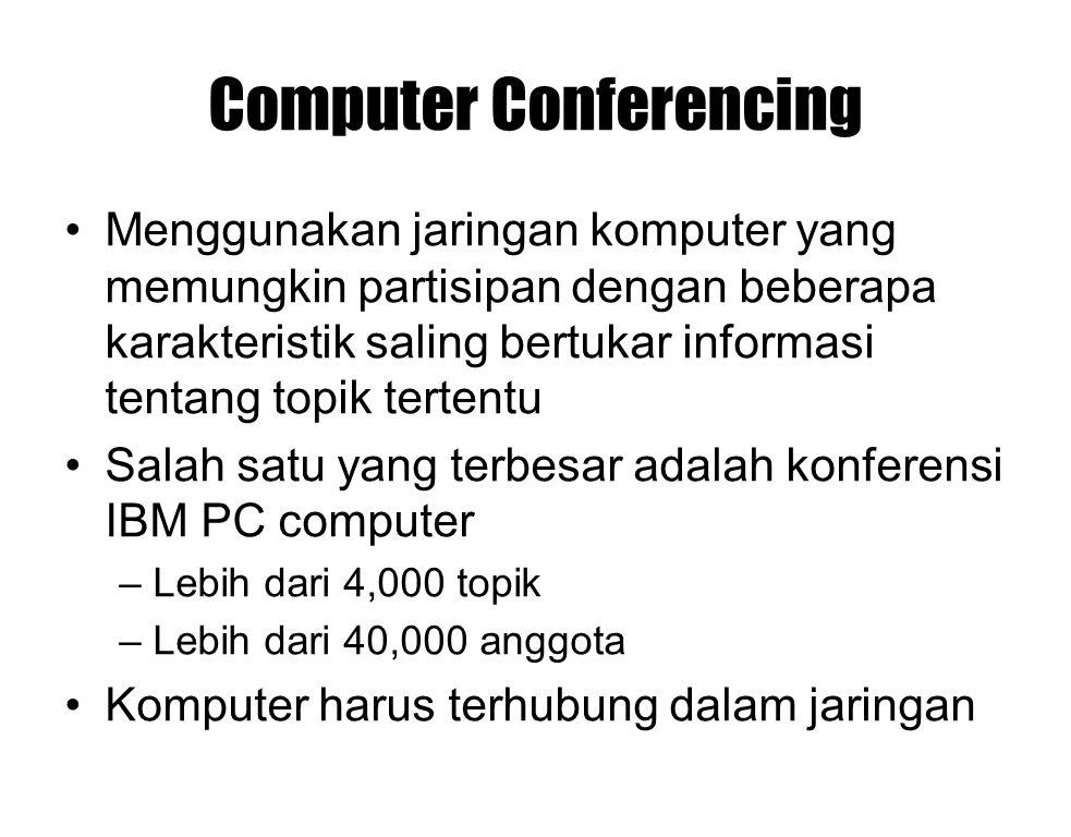 Computer Conferencing Menggunakan jaringan komputer yang memungkin partisipan dengan beberapa karakteristik saling bertukar informasi tentang topik te