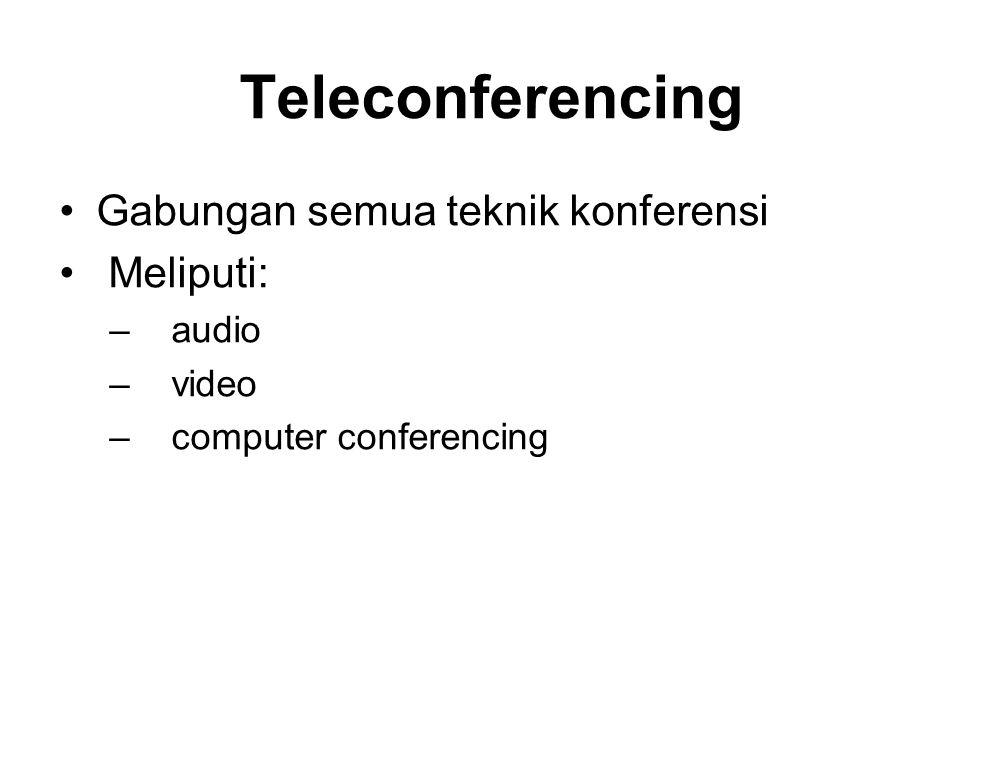 Teleconferencing Gabungan semua teknik konferensi Meliputi: – audio – video – computer conferencing