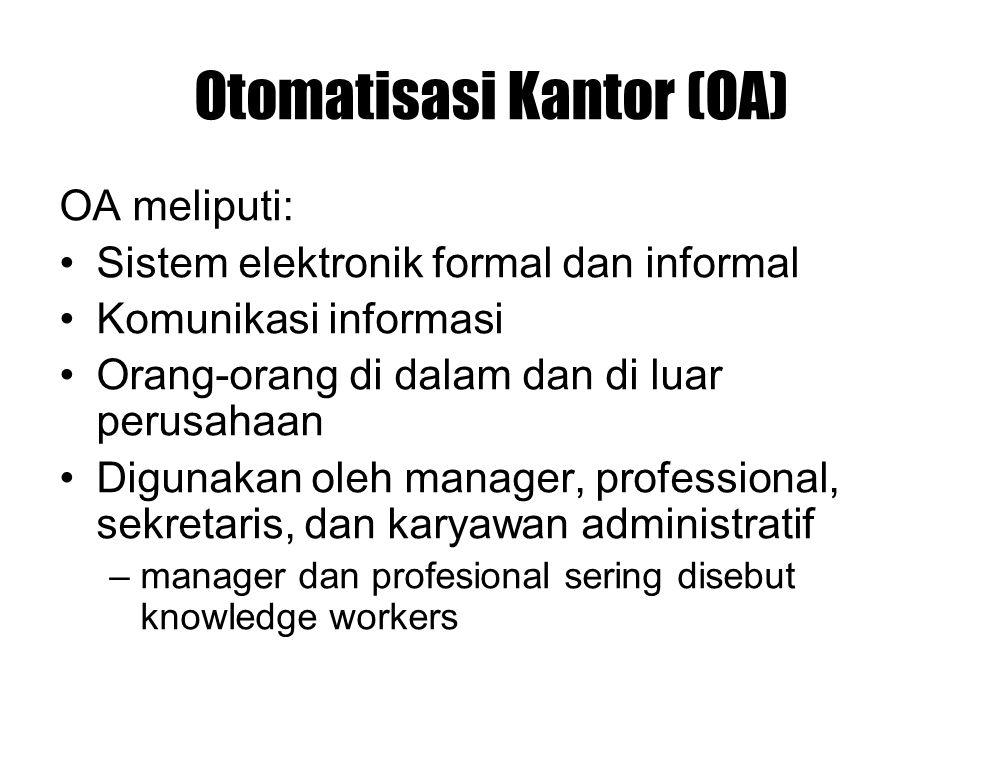 Otomatisasi Kantor (OA) OA meliputi: Sistem elektronik formal dan informal Komunikasi informasi Orang-orang di dalam dan di luar perusahaan Digunakan