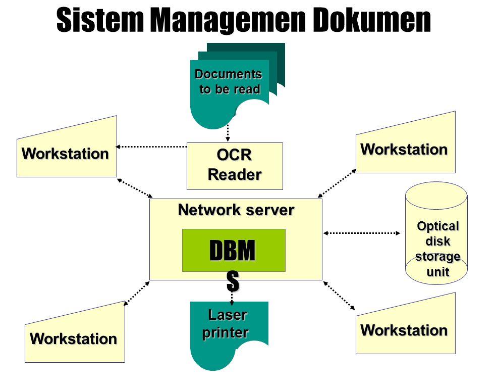 Sistem Managemen Dokumen OCR OCRReader Network server DBM S Workstation Workstation Workstation Workstation Laser Laserprinter Documents to be read to