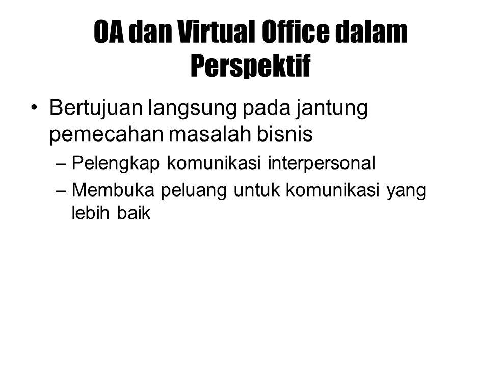 OA dan Virtual Office dalam Perspektif Bertujuan langsung pada jantung pemecahan masalah bisnis –Pelengkap komunikasi interpersonal –Membuka peluang u