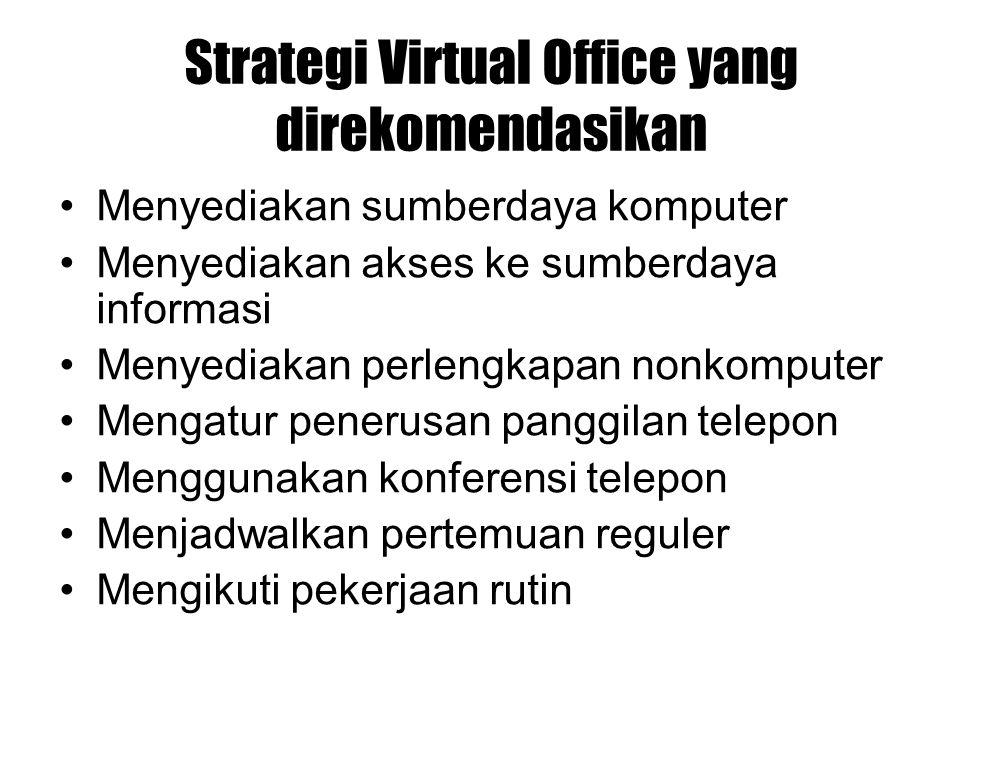 Strategi Virtual Office yang direkomendasikan Menyediakan sumberdaya komputer Menyediakan akses ke sumberdaya informasi Menyediakan perlengkapan nonko