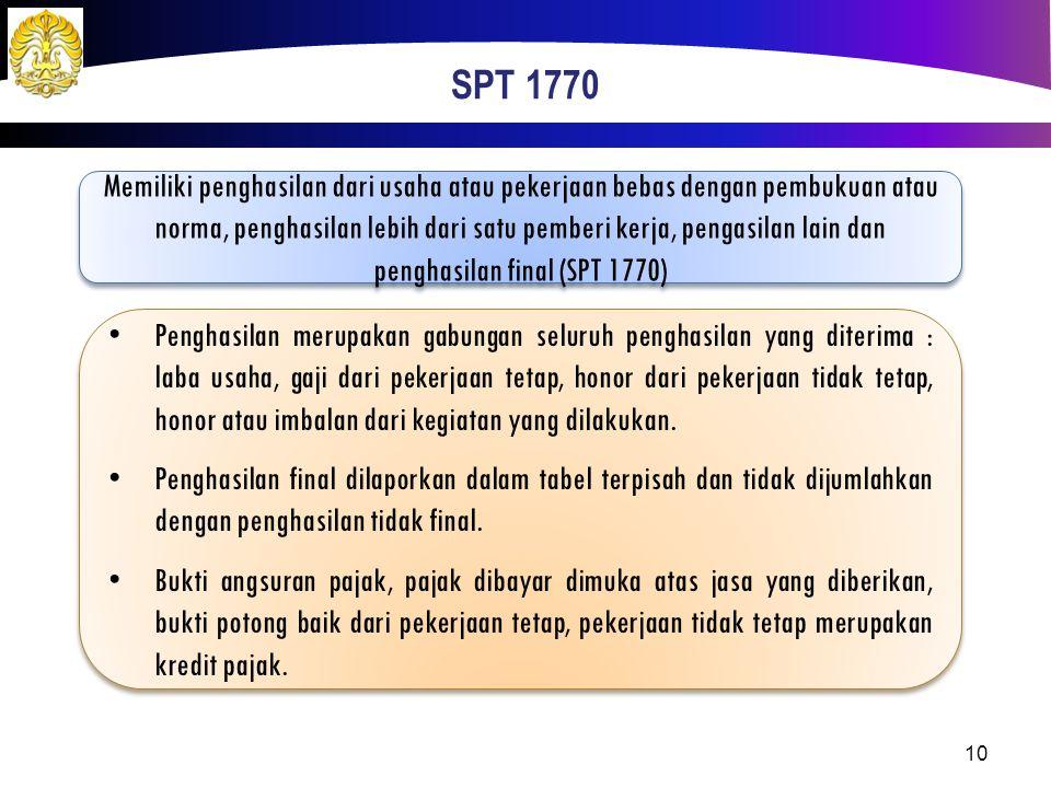 SPT 1770 Memiliki penghasilan dari usaha atau pekerjaan bebas dengan pembukuan atau norma, penghasilan lebih dari satu pemberi kerja, pengasilan lain
