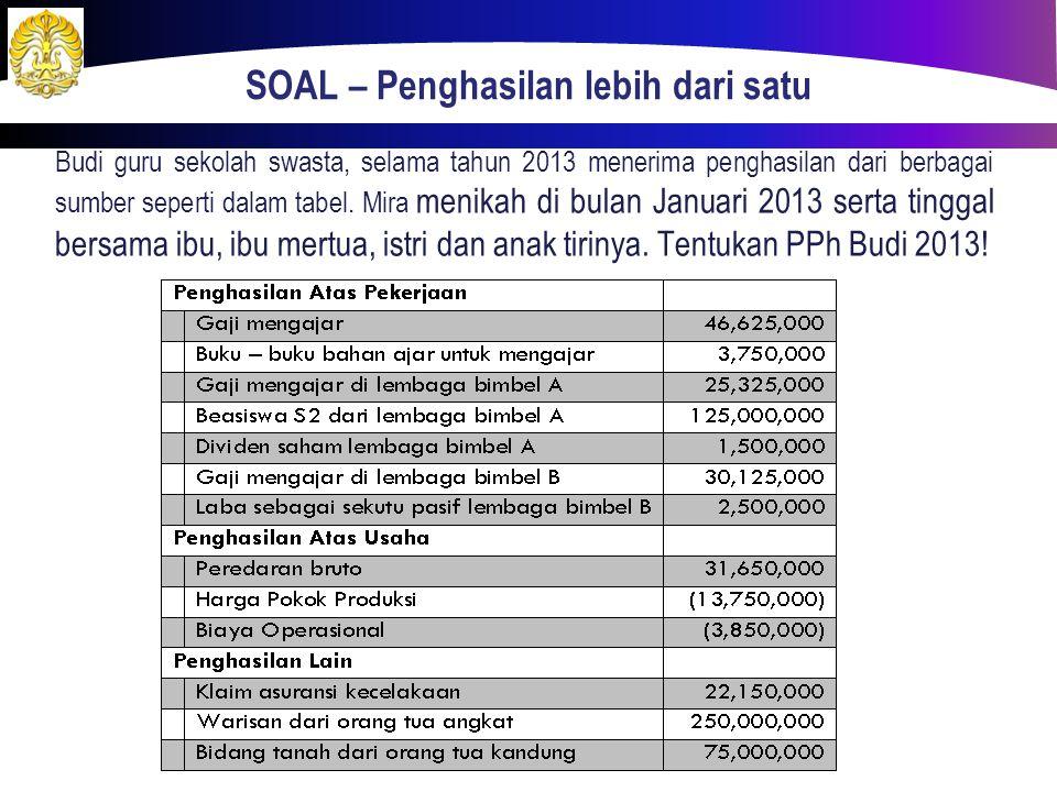 SOAL – Penghasilan lebih dari satu Budi guru sekolah swasta, selama tahun 2013 menerima penghasilan dari berbagai sumber seperti dalam tabel. Mira men