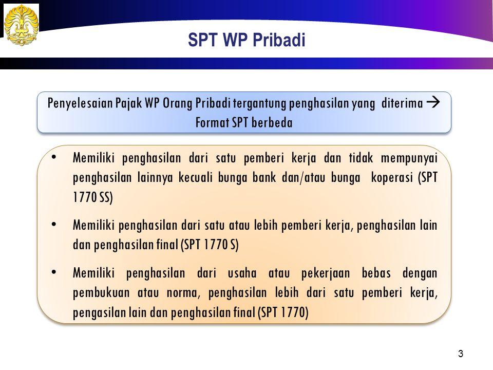 SPT WP Pribadi Penyelesaian Pajak WP Orang Pribadi tergantung penghasilan yang diterima  Format SPT berbeda Memiliki penghasilan dari satu pemberi ke