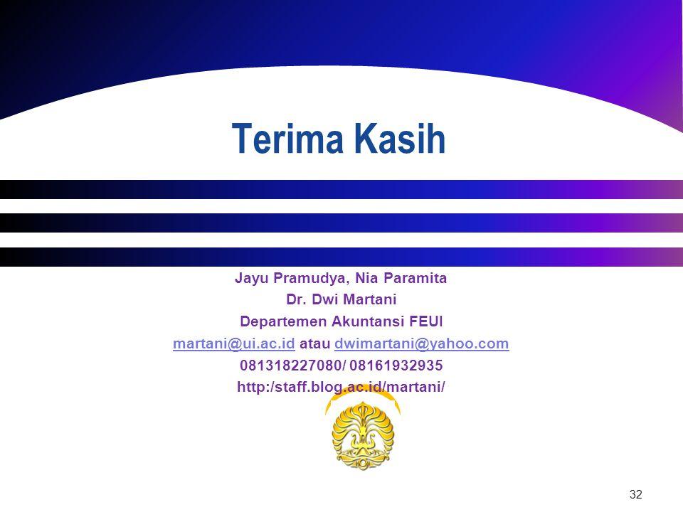 32 Jayu Pramudya, Nia Paramita Dr. Dwi Martani Departemen Akuntansi FEUI martani@ui.ac.idmartani@ui.ac.id atau dwimartani@yahoo.comdwimartani@yahoo.co