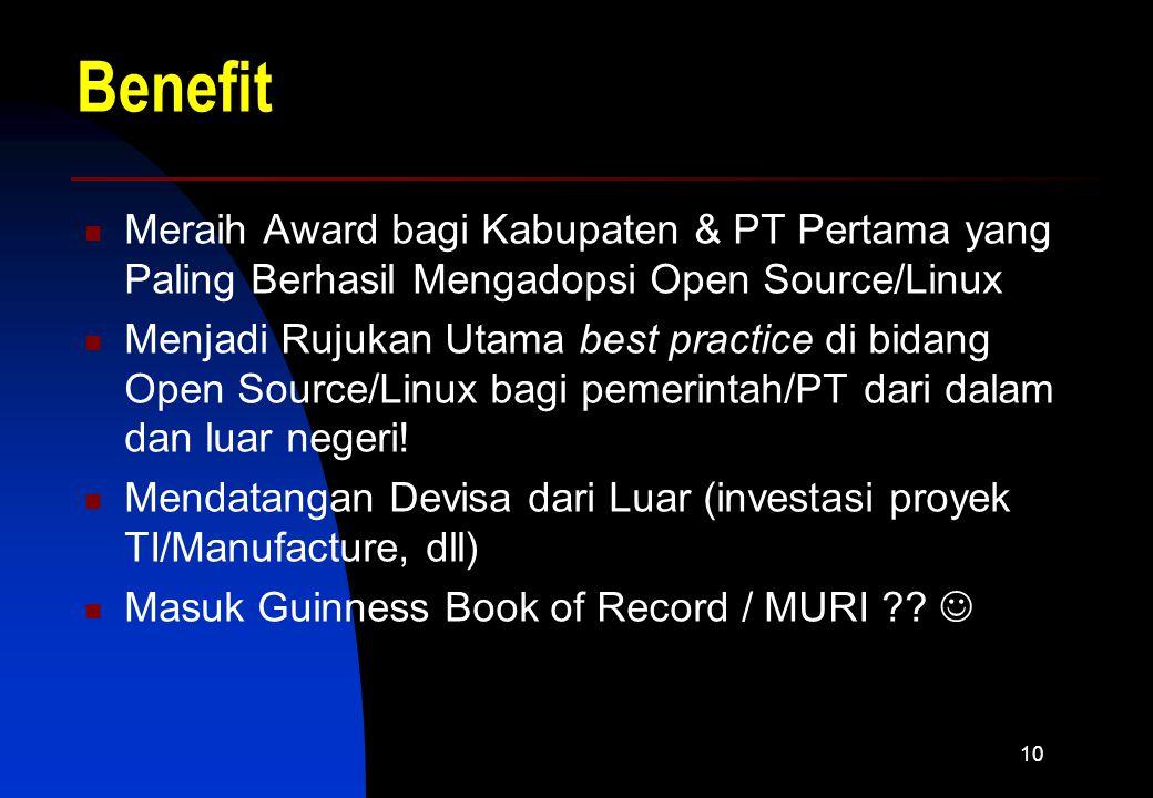 10 Benefit Meraih Award bagi Kabupaten & PT Pertama yang Paling Berhasil Mengadopsi Open Source/Linux Menjadi Rujukan Utama best practice di bidang Open Source/Linux bagi pemerintah/PT dari dalam dan luar negeri.