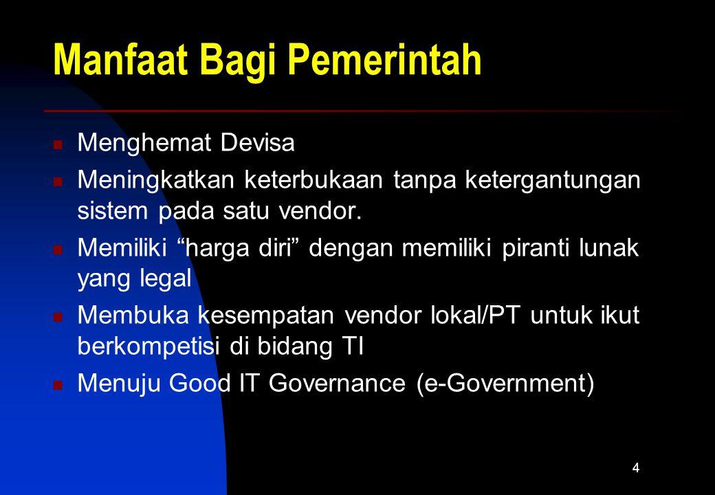 4 Manfaat Bagi Pemerintah Menghemat Devisa Meningkatkan keterbukaan tanpa ketergantungan sistem pada satu vendor.