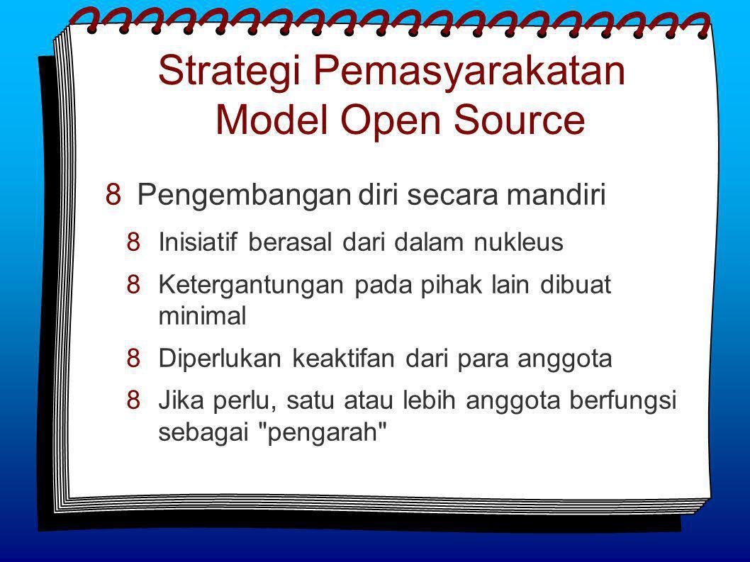 Strategi Pemasyarakatan Model Open Source  Pengembangan diri secara mandiri  Inisiatif berasal dari dalam nukleus  Ketergantungan pada pihak lain dibuat minimal  Diperlukan keaktifan dari para anggota  Jika perlu, satu atau lebih anggota berfungsi sebagai pengarah