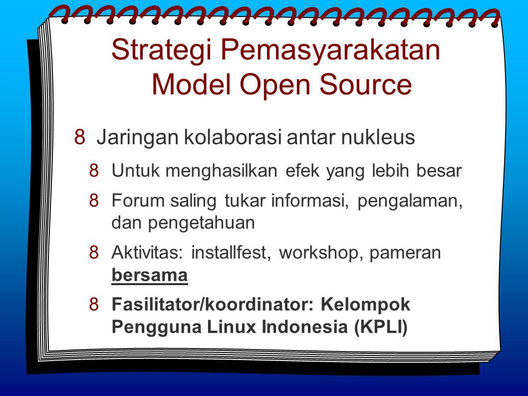 Strategi Pemasyarakatan Model Open Source  Jaringan kolaborasi antar nukleus  Untuk menghasilkan efek yang lebih besar  Forum saling tukar informasi, pengalaman, dan pengetahuan  Aktivitas: installfest, workshop, pameran bersama  Fasilitator/koordinator: Kelompok Pengguna Linux Indonesia (KPLI)