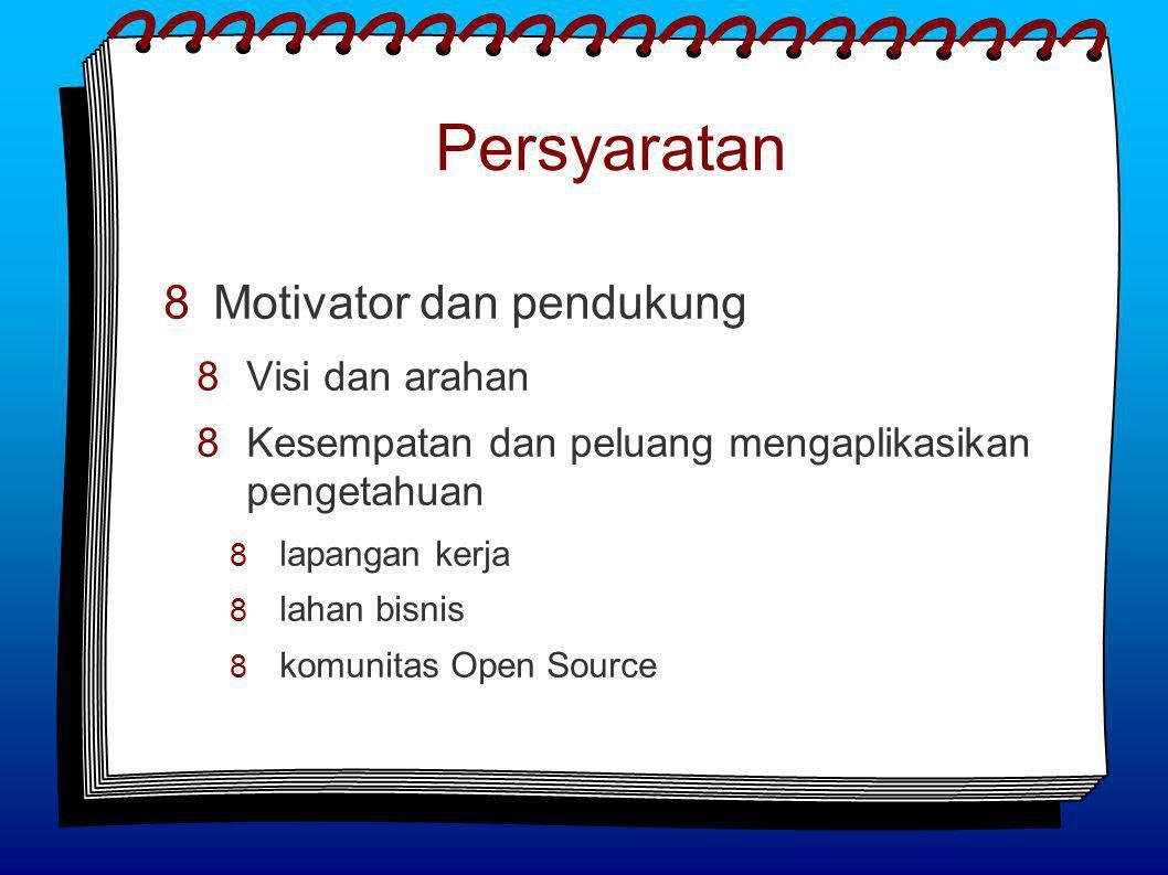Persyaratan  Motivator dan pendukung  Visi dan arahan  Kesempatan dan peluang mengaplikasikan pengetahuan  lapangan kerja  lahan bisnis  komunitas Open Source