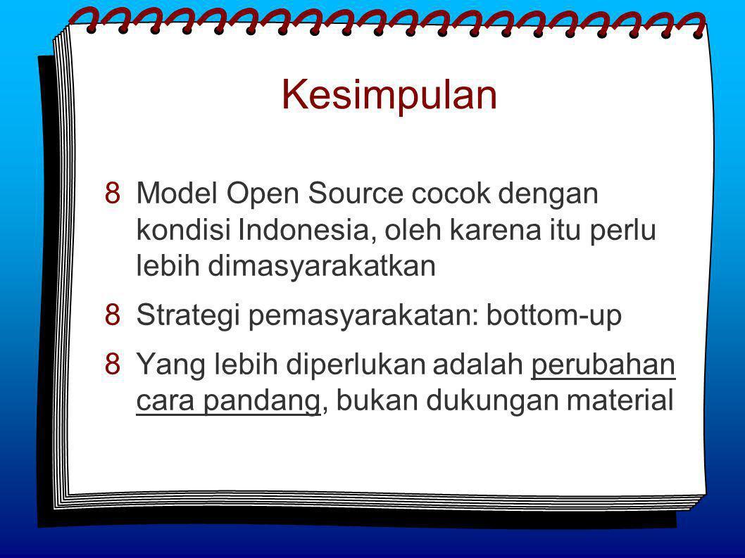 Kesimpulan  Model Open Source cocok dengan kondisi Indonesia, oleh karena itu perlu lebih dimasyarakatkan  Strategi pemasyarakatan: bottom-up  Yang lebih diperlukan adalah perubahan cara pandang, bukan dukungan material